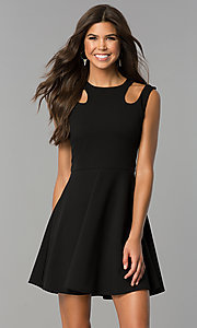Image of a-line short semi-casual party dress with cut outs. Style: CH-2915 Detail Image 2