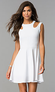 Image of a-line short semi-casual party dress with cut outs. Style: CH-2915 Front Image