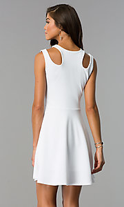 Image of a-line short semi-casual party dress with cut outs. Style: CH-2915 Back Image