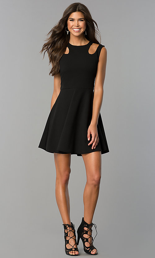 Image of a-line short semi-casual party dress with cut outs. Style: CH-2915 Detail Image 3