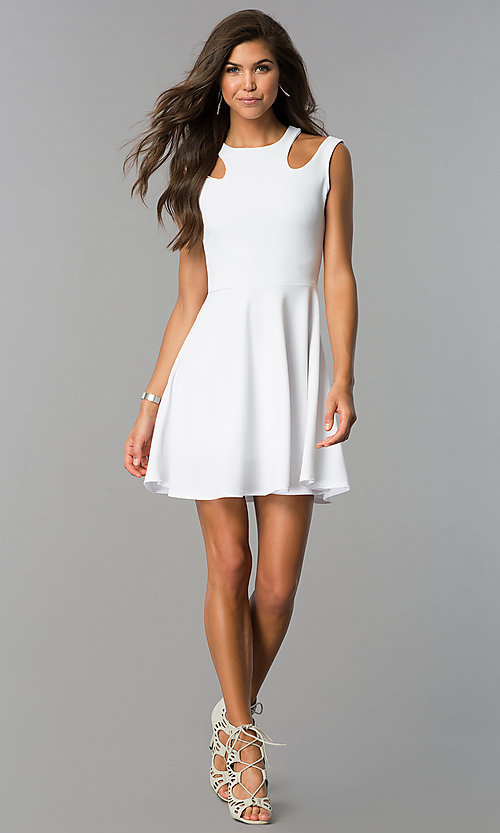 Image of a-line short semi-casual party dress with cut outs. Style: CH-2915 Detail Image 1