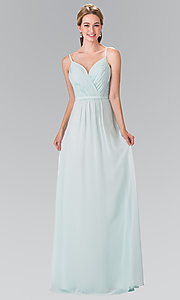 Image of long chiffon bridesmaid dress with ruched bodice. Style: FB-GL2374 Detail Image 1