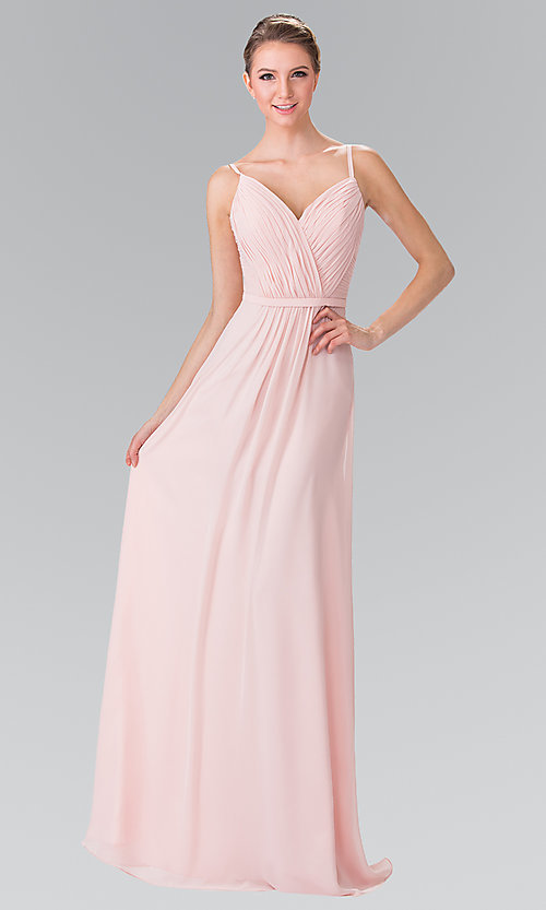 Image of long chiffon bridesmaid dress with ruched bodice. Style: FB-GL2374 Front Image