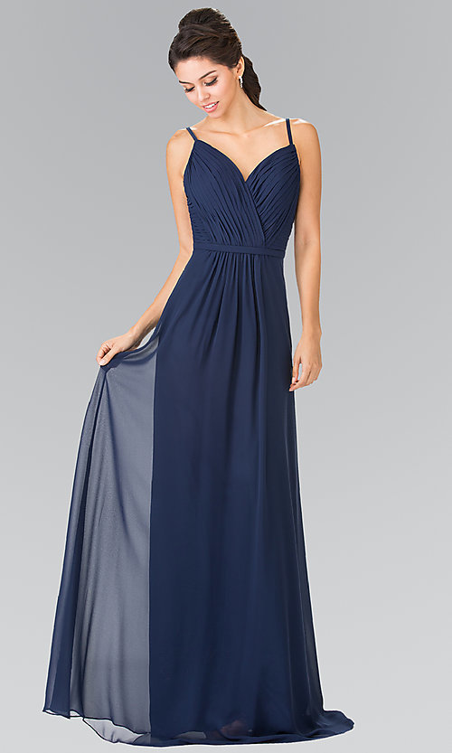 Image of long chiffon bridesmaid dress with ruched bodice. Style: FB-GL2374 Detail Image 2
