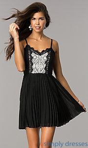 Image of lace-bodice short chiffon party dress with pleats.  Style: AS-i615950a1 Detail Image 2
