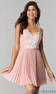 Image of lace-bodice short chiffon party dress with pleats.  Style: AS-i615950a1 Front Image