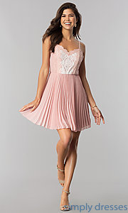 Image of lace-bodice short chiffon party dress with pleats.  Style: AS-i615950a1 Detail Image 1