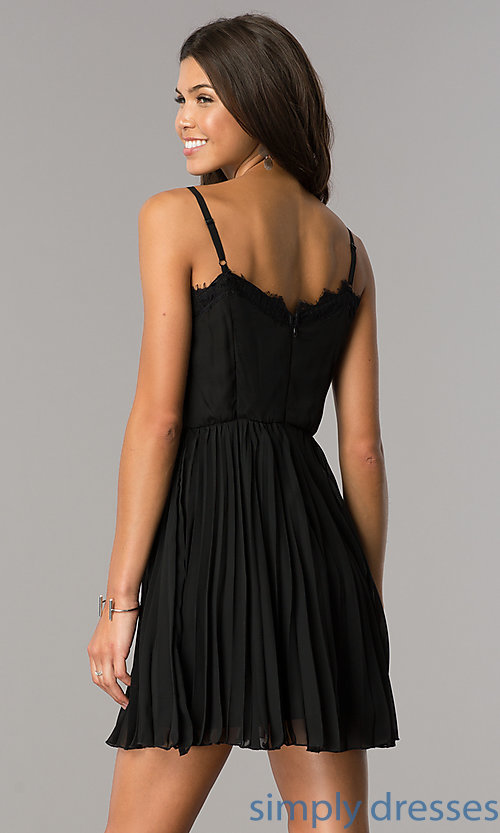 Image of lace-bodice short chiffon party dress with pleats.  Style: AS-i615950a1 Detail Image 3