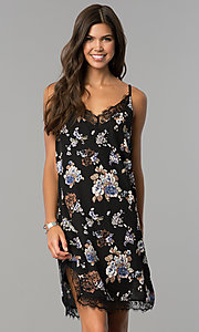 Image of floral-print short black cruise party dress with lace.  Style: AS-i710577a83 Front Image