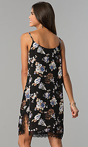Image of floral-print short black cruise party dress with lace.  Style: AS-i710577a83 Back Image