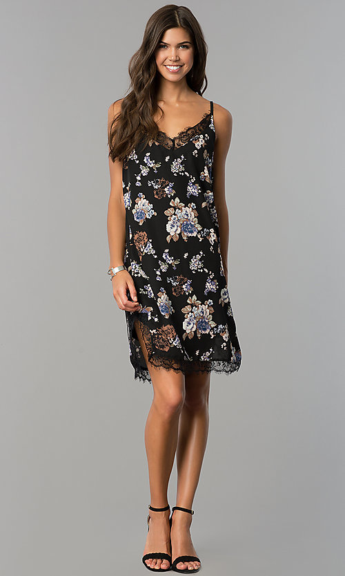 Image of floral-print short black cruise party dress with lace.  Style: AS-i710577a83 Detail Image 1