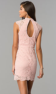 Image of cut-out short lace wedding-guest dress in rose pink. Style: AS-i607956b99 Back Image