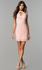 Image of cut-out short lace wedding-guest dress in rose pink. Style: AS-i607956b99 Detail Image 1