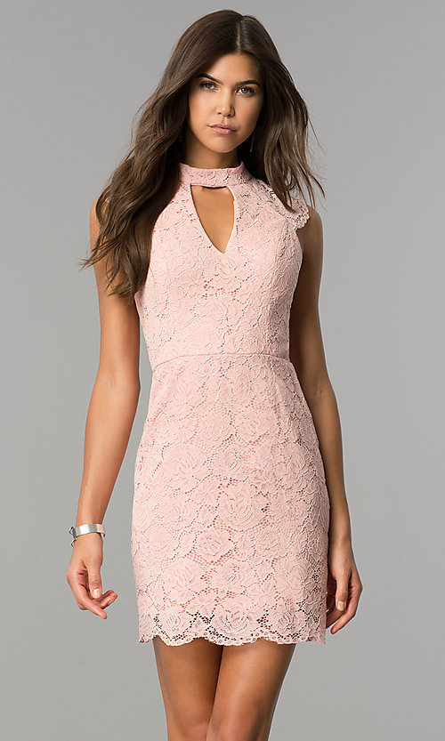 Image of cut-out short lace wedding-guest dress in rose pink. Style: AS-i607956b99 Front Image