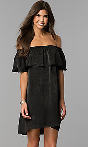 Image of off-the-shoulder short black casual party dress.  Style: AS-i751011a17 Front Image