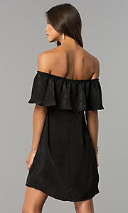 Image of off-the-shoulder short black casual party dress.  Style: AS-i751011a17 Back Image