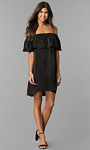 Image of off-the-shoulder short black casual party dress.  Style: AS-i751011a17 Detail Image 1