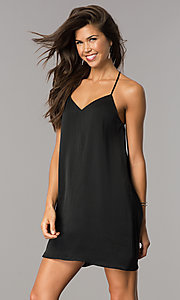 Image of short satin shift casual party dress with v-neck. Style: AS-i752378q1 Front Image