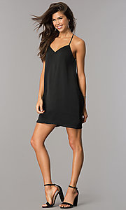 Image of short satin shift casual party dress with v-neck. Style: AS-i752378q1 Detail Image 1