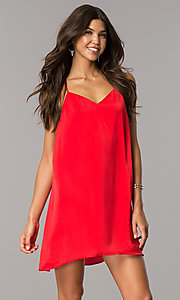 Image of short satin shift casual party dress with v-neck. Style: AS-i752378q1 Detail Image 2