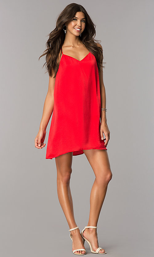 Image of short satin shift casual party dress with v-neck. Style: AS-i752378q1 Detail Image 3