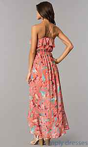 Image of high-low casual cruise party dress with print.  Style: AS-a7277105 Back Image