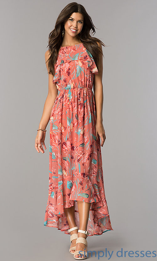 Image of high-low casual cruise party dress with print.  Style: AS-a7277105 Front Image