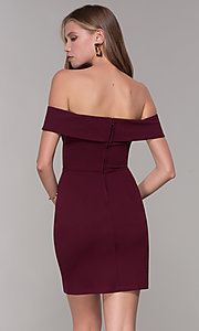 Image of homecoming off-the-shoulder short wine red party dress. Style: SS-D68081DNE Back Image