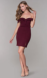 Image of homecoming off-the-shoulder short wine red party dress. Style: SS-D68081DNE Detail Image 3