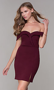 Image of homecoming off-the-shoulder short wine red party dress. Style: SS-D68081DNE Front Image