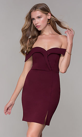 Homecoming Off-the-Shoulder Short Wine Red Party Dress