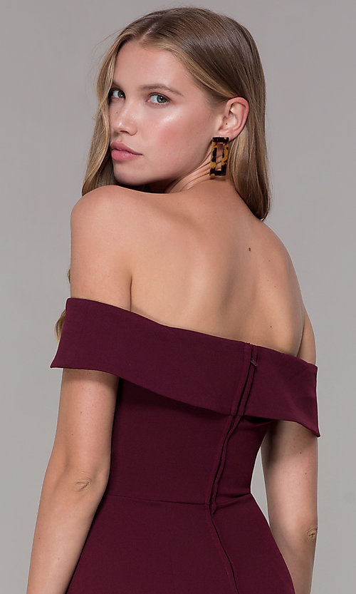 Image of homecoming off-the-shoulder short wine red party dress. Style: SS-D68081DNE Detail Image 2