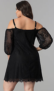 Image of off-the-shoulder plus-size short lace party dress. Style: AS-i700406A68X Back Image