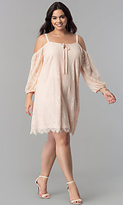 Image of off-the-shoulder plus-size short lace party dress. Style: AS-i700406A68X Detail Image 1