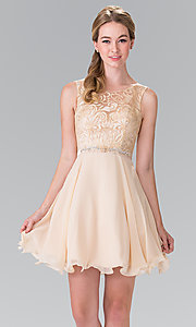 Image of lace-bodice short chiffon homecoming party dress. Style: FB-GS2314 Detail Image 4