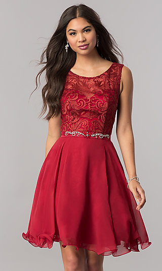 Lace-Bodice Short Chiffon Homecoming Party Dress