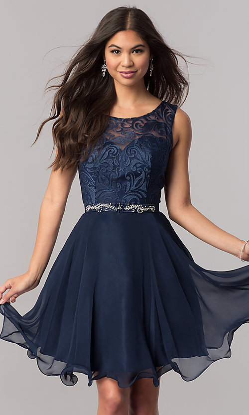 Image of lace-bodice short chiffon homecoming party dress. Style: FB-GS2314 Detail Image 1