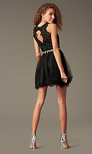 Image of fit-and-flare short homecoming party dress with lace.  Style: FB-GS2375 Back Image