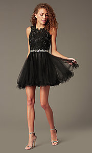 Image of fit-and-flare short homecoming party dress with lace.  Style: FB-GS2375 Detail Image 2