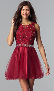 Image of fit-and-flare short homecoming party dress with lace.  Style: FB-GS2375 Front Image