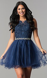 Image of fit-and-flare short homecoming party dress with lace.  Style: FB-GS2375 Detail Image 4