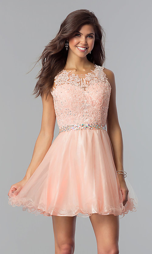 Image of fit-and-flare short homecoming party dress with lace.  Style: FB-GS2375 Detail Image 3