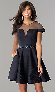 Image of illusion-sweetheart hoco dress with cap sleeves. Style: KC-17507 Front Image