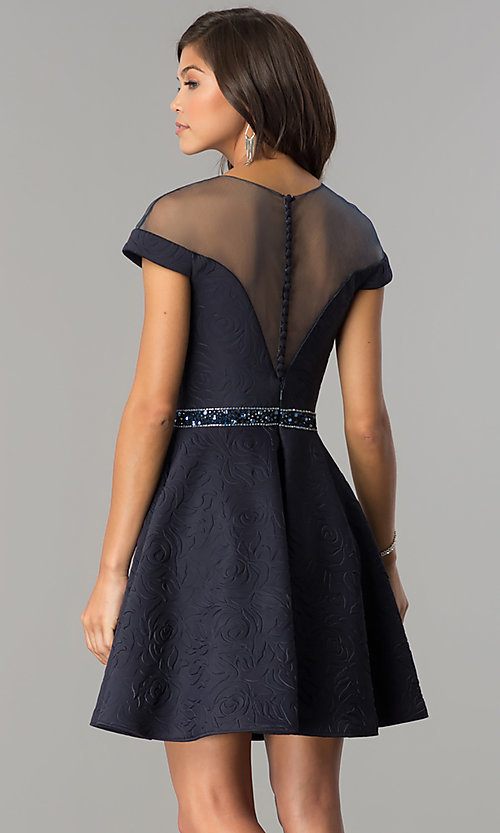 Image of illusion-sweetheart hoco dress with cap sleeves. Style: KC-17507 Back Image