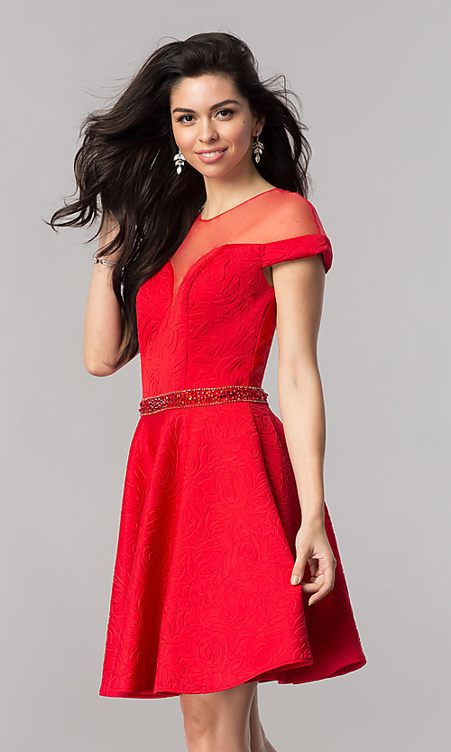 Image of illusion-sweetheart hoco dress with cap sleeves. Style: KC-17507 Detail Image 2