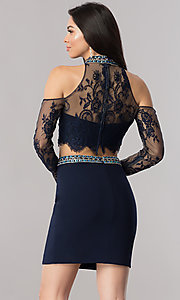Image of long-lace-sleeve short two-piece homecoming dress. Style: KC-17523 Back Image