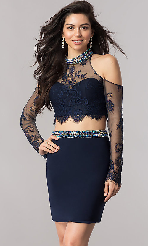 Image of long-lace-sleeve short two-piece homecoming dress. Style: KC-17523 Front Image