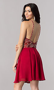 Image of jeweled-illusion short chiffon prom dress. Style: KC-17540 Back Image