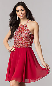 Image of jeweled-illusion short chiffon prom dress. Style: KC-17540 Front Image