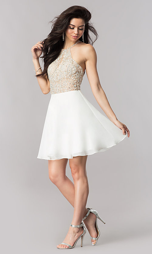 Image of jeweled-illusion short chiffon prom dress. Style: KC-17540 Detail Image 3